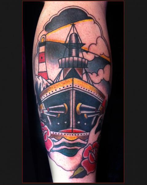 Calf Old School Boat Tattoo by Chapel Tattoo