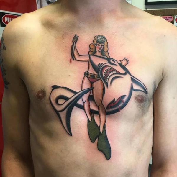 Chest Shark Woman Tattoo by Chapel Tattoo