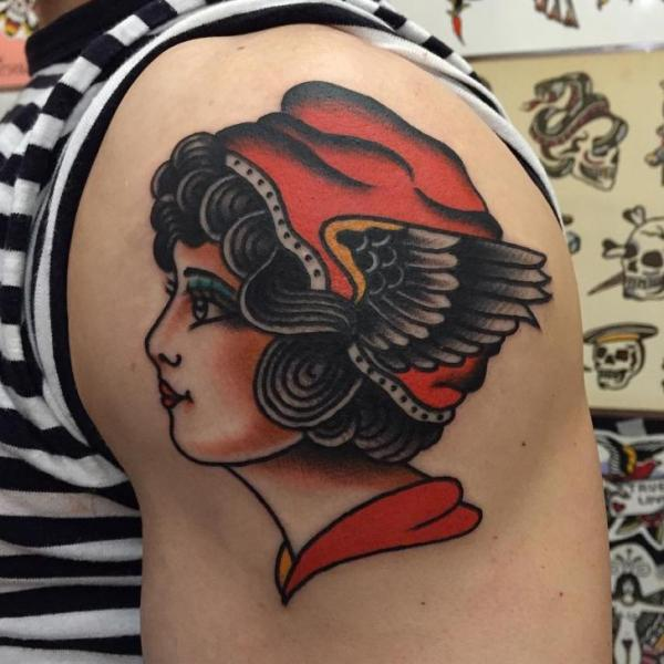 Shoulder Gypsy Woman Tattoo by Chapel Tattoo