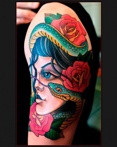 Shoulder New School Snake Women Tattoo by Chapel Tattoo