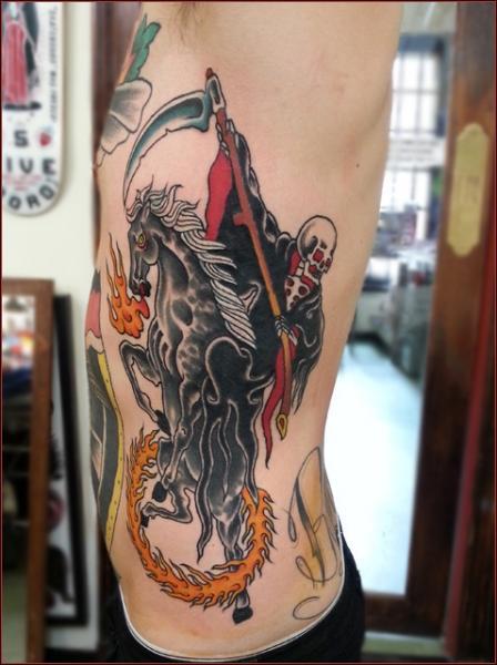 Side Death Skeleton Horse Fire Tattoo by Chapel Tattoo