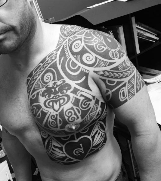 Shoulder Chest Tribal Tattoo by Chapel Tattoo