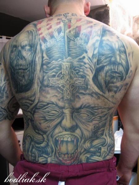 Fantasy Back Monster Tattoo by Bodliak Tattoo
