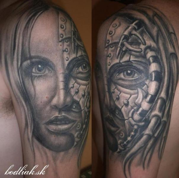 Shoulder Fantasy Women Tattoo by Bodliak Tattoo