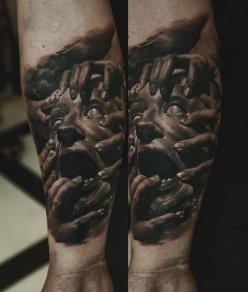 Arm Hand Face Tattoo by Domantas Parvainis