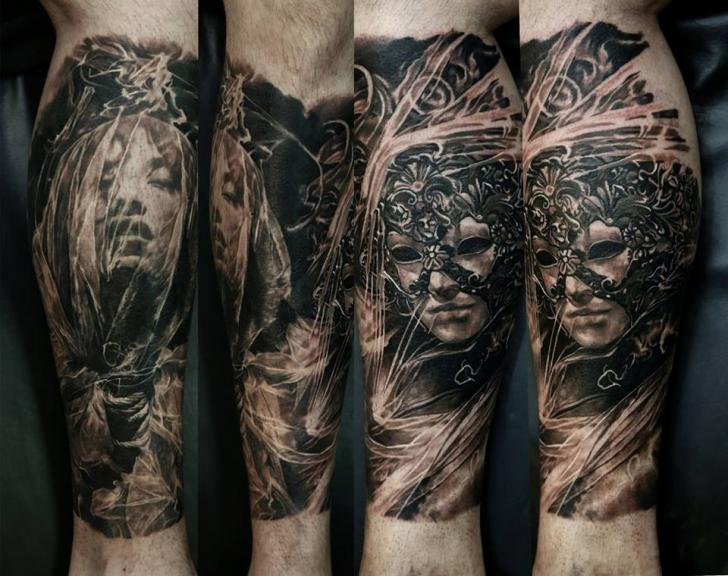 Arm Realistic Mask Tattoo by Domantas Parvainis