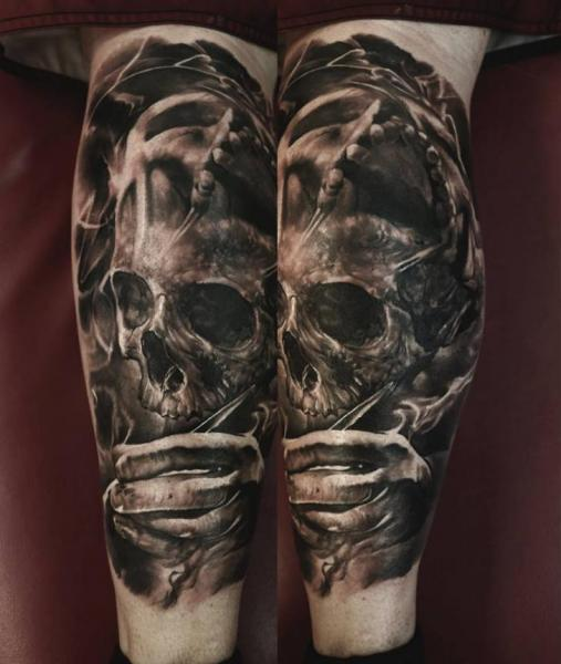 Calf Skull Tattoo by Domantas Parvainis