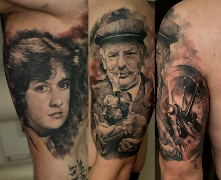 Shoulder Portrait Realistic Clock Tattoo by Domantas Parvainis