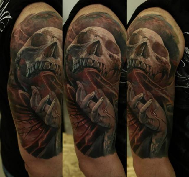 Shoulder Realistic Skull Tattoo by Domantas Parvainis