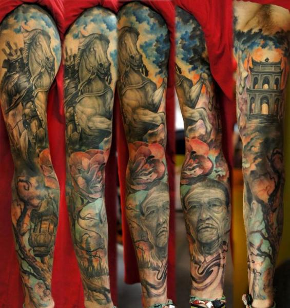 Portrait Horse Sleeve Tattoo by Domantas Parvainis