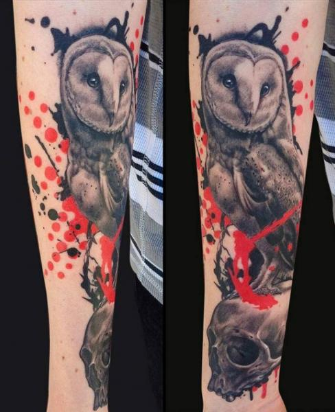 Arm Skull Owl Tattoo by Jamie Lee Parker