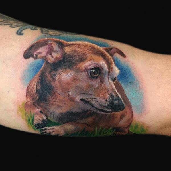 Arm Realistic Dog Tattoo by Jamie Lee Parker