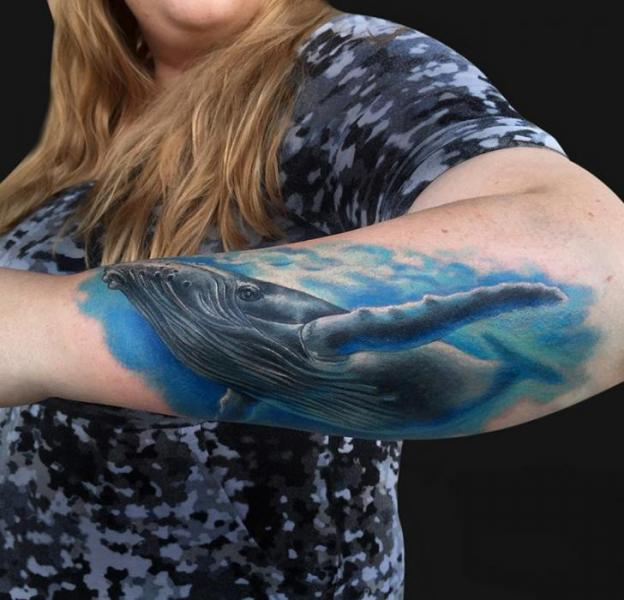 Arm Realistic Whale Tattoo by Jamie Lee Parker