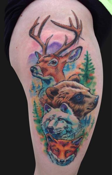Shoulder Bear Fox Deer Tattoo by Jamie Lee Parker