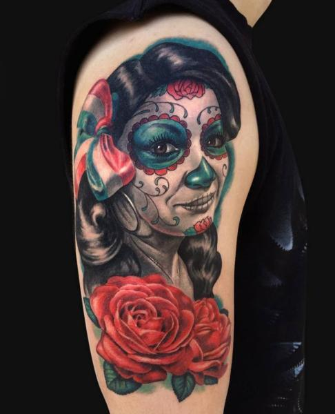 Shoulder Flower Mexican Skull Tattoo by Jamie Lee Parker