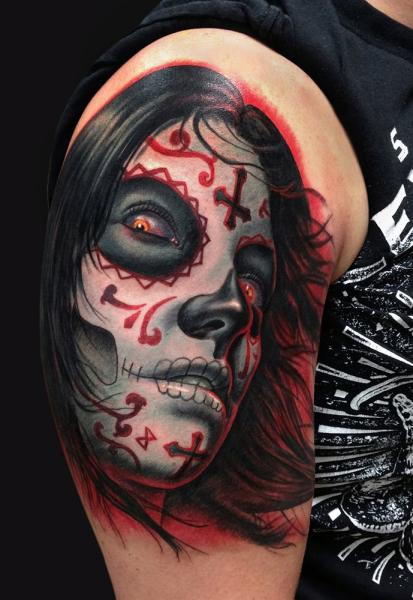 Shoulder Mexican Skull Tattoo by Jamie Lee Parker