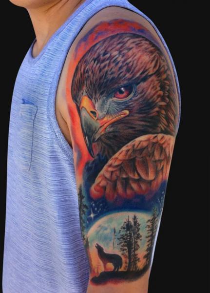 Shoulder Realistic Eagle Tattoo by Jamie Lee Parker