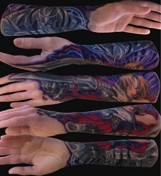 Fantasy Comic Sleeve Tattoo by Jamie Lee Parker