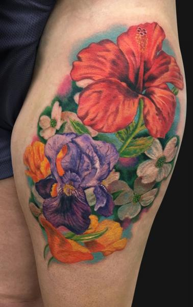 Realistic Flower Thigh Tattoo by Jamie Lee Parker