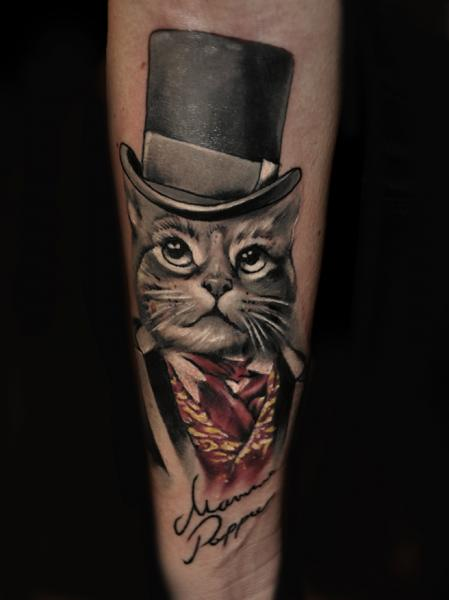 Arm Cat Hat Tattoo by Pawel Skarbowski