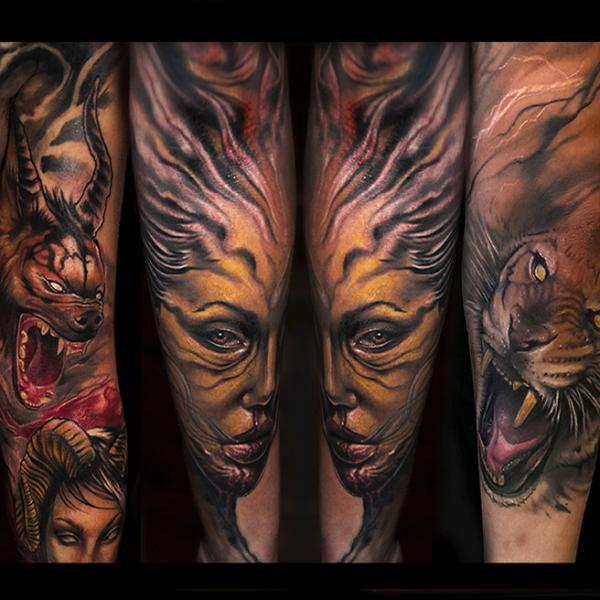 Arm Fantasy Devil Tattoo by Pawel Skarbowski