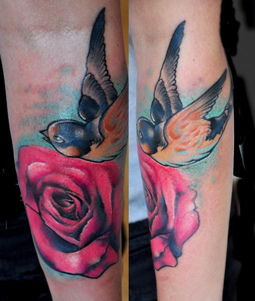 Arm Flower Bird Tattoo by Pawel Skarbowski