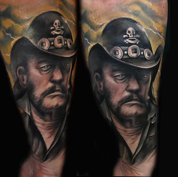 Arm Portrait Realistic Lemmy Tattoo by Pawel Skarbowski