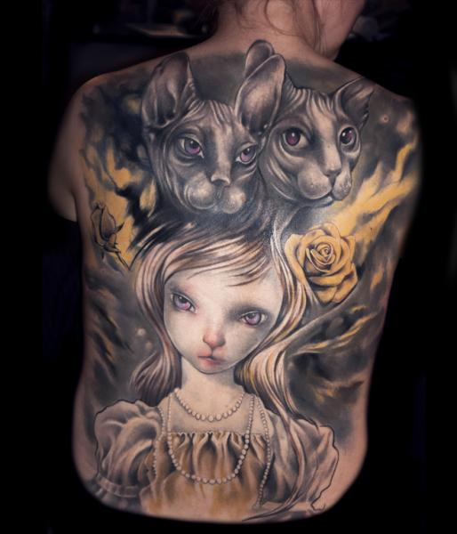 Fantasy Back Cat Character Tattoo by Pawel Skarbowski