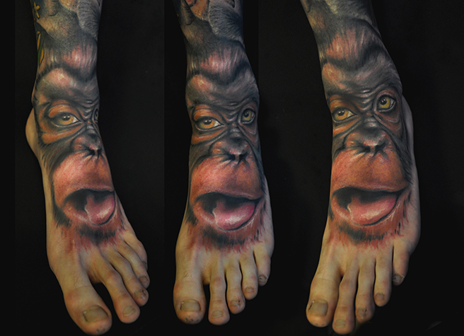 Realistic Foot Monkey Tattoo by Pawel Skarbowski