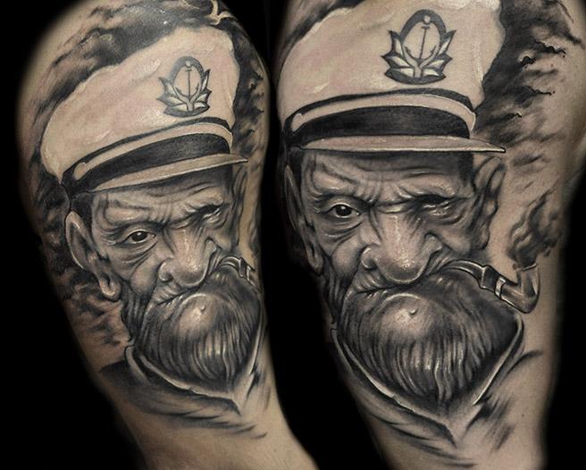 Charakter Popeye Tattoo von Pawel Skarbowski