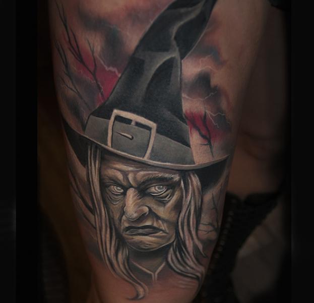 Fantasy Witch Tattoo by Pawel Skarbowski