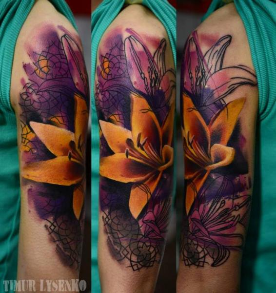 Arm Flower Tattoo by Redberry Tattoo