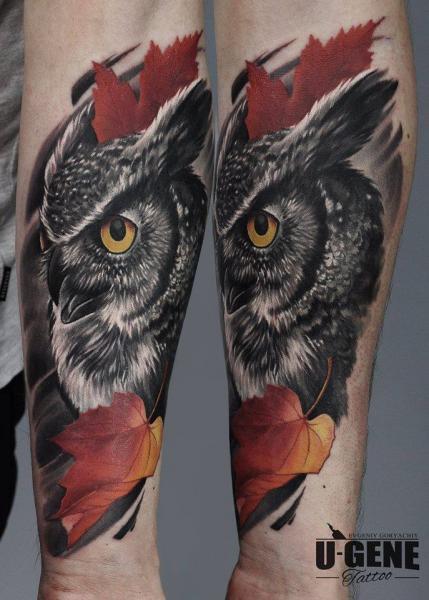 Arm Owl Leaf Tattoo by Redberry Tattoo