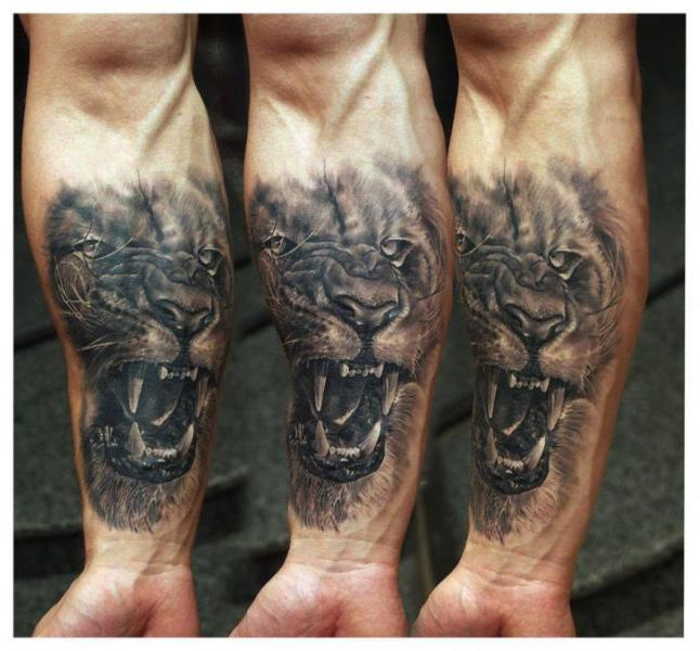 Arm Realistic Lion Tattoo by Redberry Tattoo