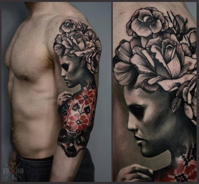 Shoulder Arm Flower Women Tattoo by Redberry Tattoo