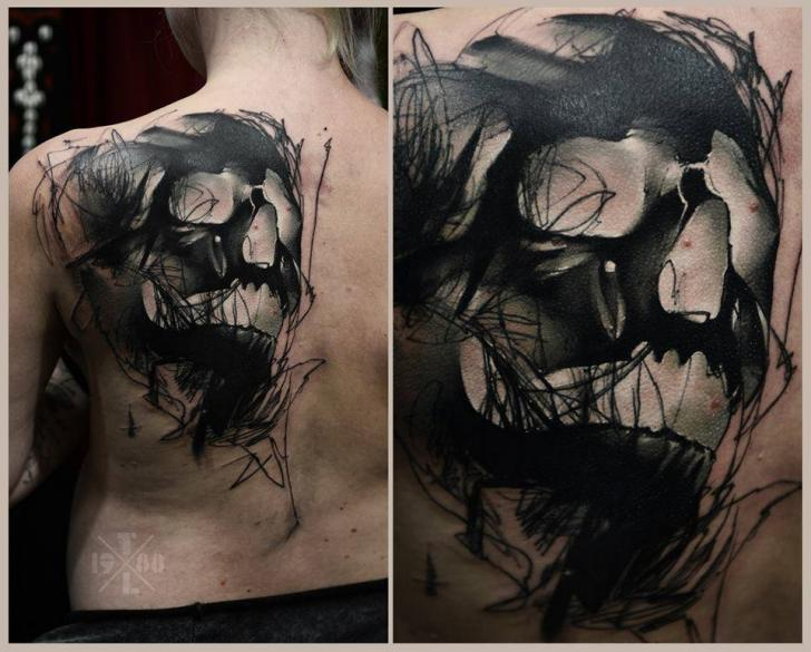 Shoulder Skull Back Tattoo by Redberry Tattoo
