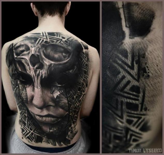 Portrait Skull Back Tattoo by Redberry Tattoo