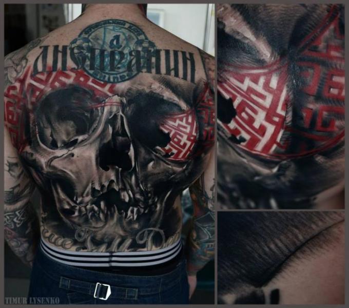 Tatuaje Cráneo Espalda por Redberry Tattoo