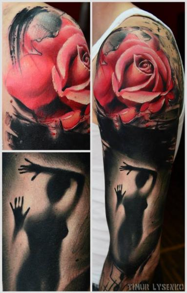 Arm Blumen Rose Tattoo von Redberry Tattoo