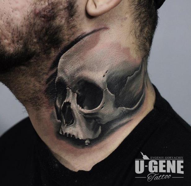Skull Neck Tattoo by Redberry Tattoo