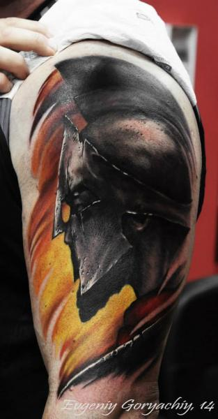 Shoulder Warrior 300 Tattoo by Redberry Tattoo