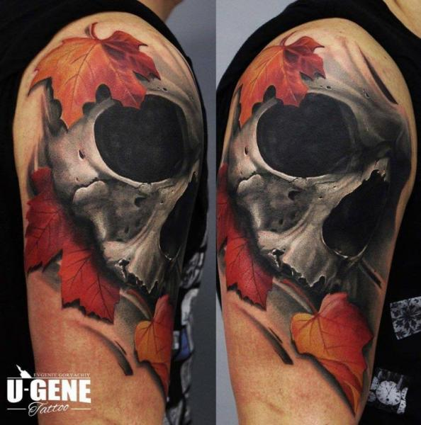 Shoulder Skull Leaf Tattoo by Redberry Tattoo