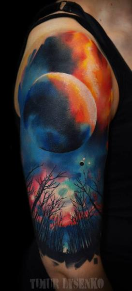 Shoulder Moon Tattoo by Redberry Tattoo