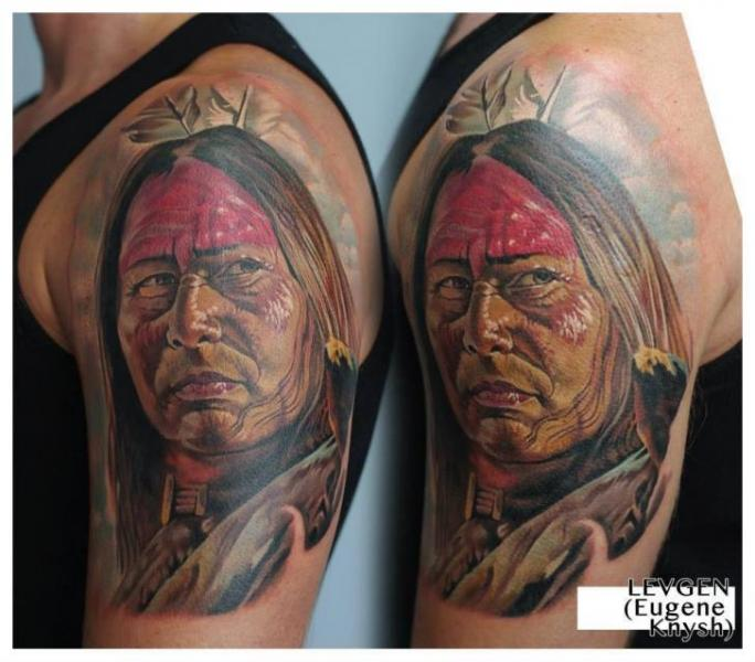 Shoulder Portrait Realistic Indian Tattoo by Redberry Tattoo