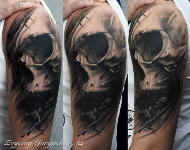 Shoulder Skull Tattoo by Redberry Tattoo