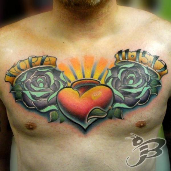 Chest Heart Rose Tattoo by Powerline Tattoo