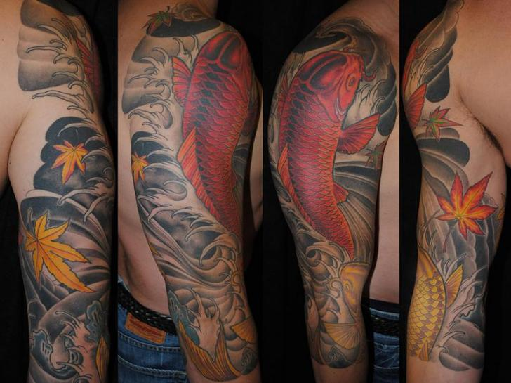 Shoulder Arm Japanese Carp Koi Tattoo by Powerline Tattoo