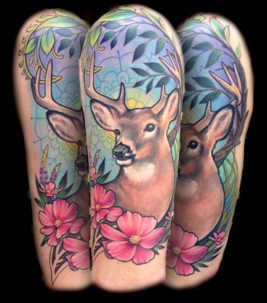 Shoulder Flower Deer Tattoo by Powerline Tattoo