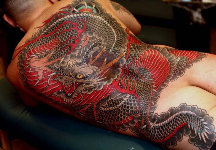 Tatuaje Japoneses Espalda Dragón por RG74 tattoo