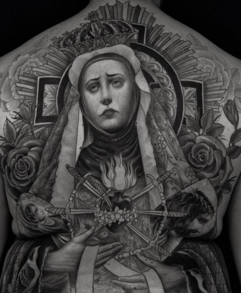 Back Religious Madonna Tattoo by RG74 tattoo